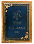 Custom Solid Oak Plaque w/ Blue Seeing Stars Series Plate (12