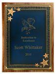 Custom American Black Walnut Plaque w/Blue Seeing Stars Series Plate (12