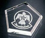 Custom Pentagon Pride Paperweight - Jade Glass (3/4