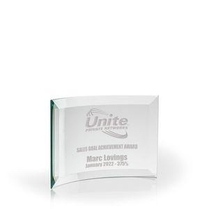 Beveled Crescent Award - Jade Glass (6x8x3/16)