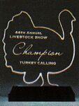 Custom Tenderhearted Turkey Award on a Black Base - Acrylic (6 1/2