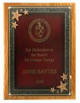 Custom Solid Oak Plaque w/ Red Seeing Stars Series Plate (9