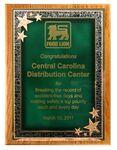 Custom Solid Oak Plaque w/ Green Seeing Stars Series Plate (12