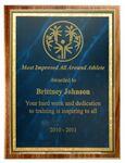 Custom American Black Walnut Plaque w/ Blue Marble Mist Series Plate (10