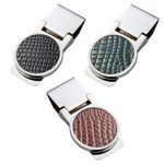 Custom Round Metal Silver Money Clip with PU Leatherette Crocodile Pattern