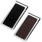 Custom Stainless Steel Money Clip w/ Black or Brown PU Snake Skin Pattern