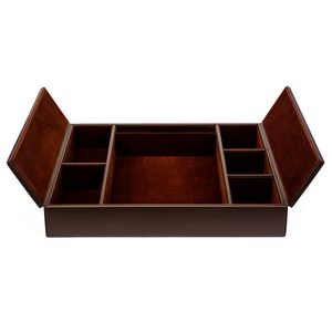 Custom Chocolate Brown Top Grain Leather Classic Conference Room Organizer