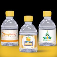 8 oz. Custom Label Spring Water w/ Yellow Flat Cap - Clear Bottle