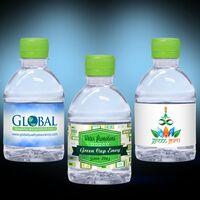 8 oz. Custom Label Spring Water w/ Lime Green Flat Cap - Clear Bottle