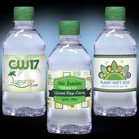 12 oz. Custom Label Spring Water w/Green Flat Cap - Clear Bottle