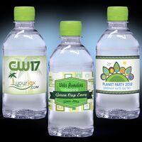 12 oz. Custom Label Spring Water w/Lime Green Flat Cap - Clear Bottle