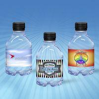 8 oz. Custom Label Spring Water w/Black Flat Cap - Clear Bottle