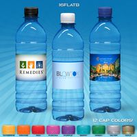 16.9 oz. Custom Label Spring Water w/Flat Cap - Blue Tinted Bottle