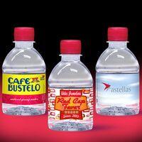 8 oz. Custom Label Spring Water w/ Ruby Red Flat Cap - Clear Bottle