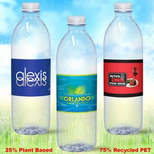 16.9 oz. Custom Label Spring Water w/ Flat Cap - Clear Bullet ECO Bottle