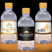 12 oz. Custom Label Spring Water w/Tangerine Orange Flat Cap - Clear Bottle