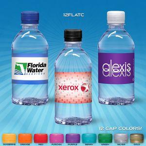 12 oz. Custom Label Spring Water w/ Flat Cap - Clear Bottle