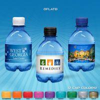 8 oz. Custom Label Spring Water w/Flat Cap - Blue Tinted Bottle