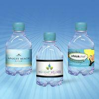 8 oz. Custom Label Spring Water w/ Berry Blue Flat Cap - Clear Bottle
