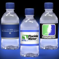 12 oz. Custom Label Spring Water w/Blue Flat Cap - Clear Bottle