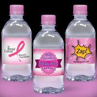 12 oz. Custom Label Spring Water w/Pink Flat Cap - Clear Bottle