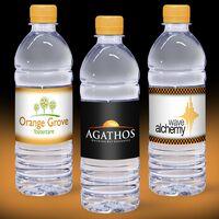 16.9 oz. Custom Label Spring Water w/Tangerine Orange Flat Cap - Clear Bottle