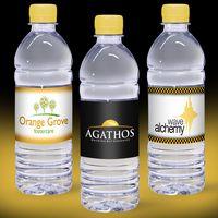 16.9 oz. Custom Label Spring Water w/ Yellow Flat Cap - Clear Bottle
