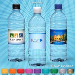 16.9 oz. Custom Label Spring Water w/ Flat Cap - Clear Bottle