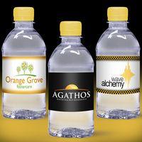 12 oz. Custom Label Spring Water w/ Yellow Flat Cap - Clear Bottle