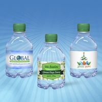 8 oz. Custom Label Spring Water w/Green Flat Cap - Clear Bottle