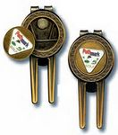 Custom Golf 3 In 1 Money Clip w/ Divot Tool & Ball Marker