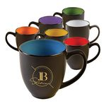 Custom Two Tone Matte 15 oz. Bistro Mug with large curved handle