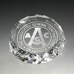 Custom Round shaped paperweight optical crystal award/trophy.3/4 inch high