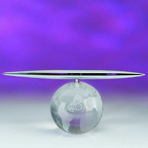 Awards-optical crystal globe spinning pen set.2-5/8 inch high