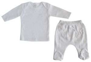 White Interlock Long Sleeve Lap T-Shirt & Closed-Toe Pants Set