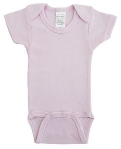 Pink Rib Knit Short Sleeve Onezie