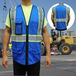 Custom Non-ANSI, Royal Blue Safety Vest with Multi Pockets