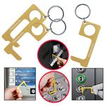 Custom PPE Brass Hygiene Door Opener Closer No-Touch w/ Key Chain