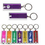 Custom Slim Rectangular Flashlight with Swivel Key Chain (Translucent Purple)