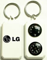 Compass and Thermometer Keychain / White