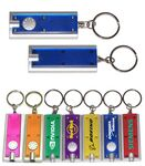 Custom Slim Rectangular Flashlight with Swivel Key Chain (Translucent Blue)