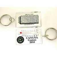 Compass and Thermometer Keychain w/ Wind Chill Chart