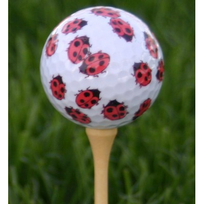 White Golf Ball w/ Ladybugs