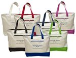 Custom Two Tone Cotton Canvas Tote Bag with Zippered Closure and Outside Zippered