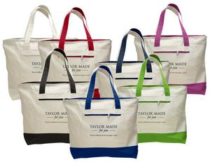 f545823e793 Two Tone Cotton Canvas Tote Bag with Zippered Closure and Outside Zippered
