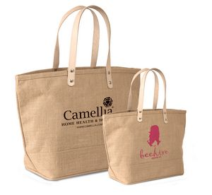 Jute Tote Bag With Leather Handles J0208 Large Natural Ideastage Promotional Products