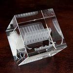 Custom Large Edge Cut Crystal Cube Award (3 1/8