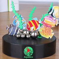 Magnetic Sculpture Desk Toy- Six Fish, 8 Stainless Steel Balls & 3 Grass