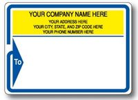 Standard Pin Fed Mailing Label w/ Blue Arrow Border and 'To' Detail