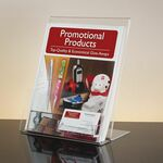 Custom Slant-Back Clear Acrylic Literature Holder with Business Card Pocket